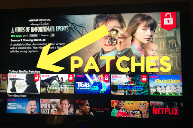 Netflix has released a new reward system for kids that encourages binge-watching with collectible patches
